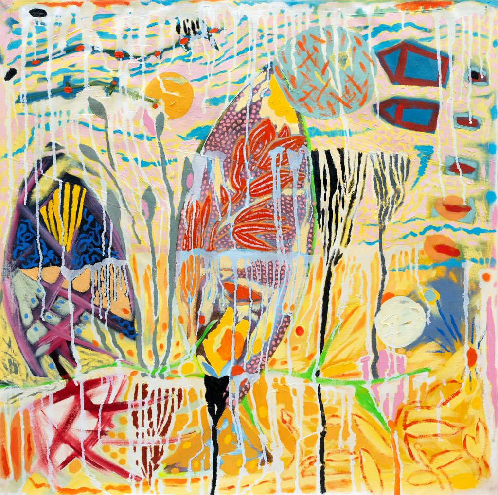 Abstract painting of an outdoor scene with birds and buildings