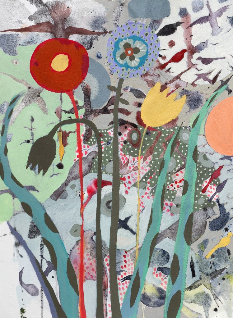 Abstract painting of red, yellow and peach-colored flowers with birds flying behind